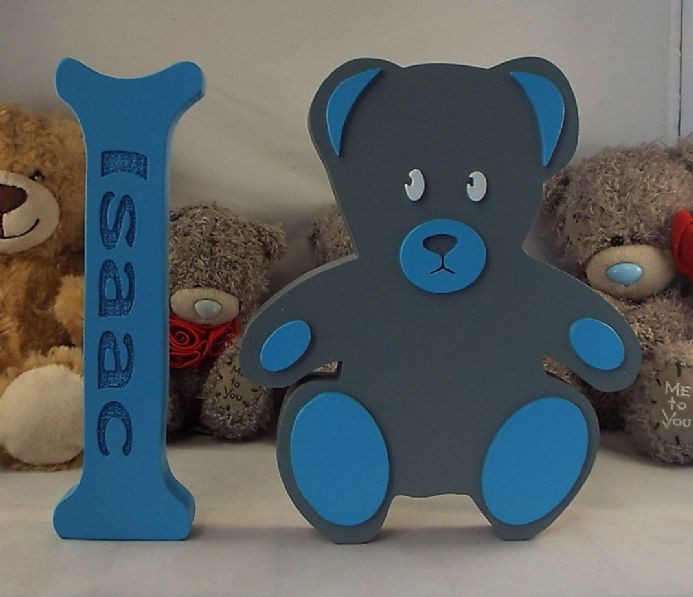 personalised  large wooden letters and teddy bear baby shower birth nursery gift